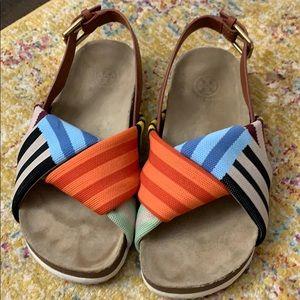 Tory Burch Corey striped platform sandal, size 7
